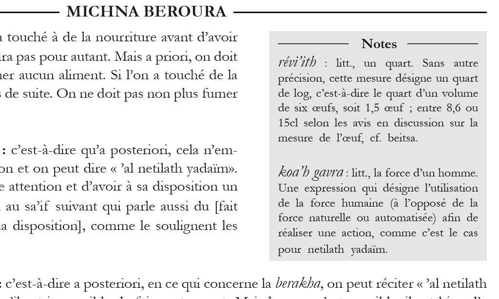 Les notes de lecture du Béour Halak'ha en Français